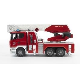 Пожарная машина Bruder Scania с выдвижной лестницей и помпой