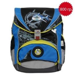 Школьный ранец DerDieDas 8405010 Белая акула ErgoFlex с наполнением