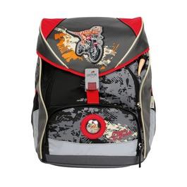 Школьный ранец DerDieDas 8405032 Динозавр-байкер ErgoFlex с наполнением