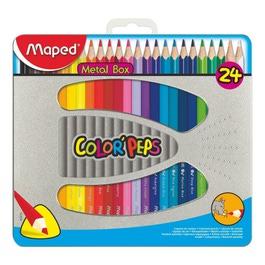 Карандаши Maped цветные Color Peps, трехгранные, 24 цвета, в металлической коробке