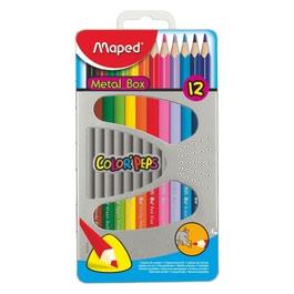 Карандаши Maped цветные Color Peps, трехгранные, 12 цветов, в металлической коробке