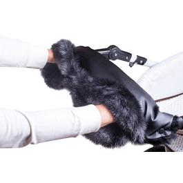 Муфта Bambu Iglu на коляску черная эко-кожа + черный песец