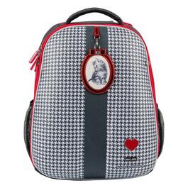 Школьный рюкзак Mike&Mar Котенок т.серый/красный кант 1008-153