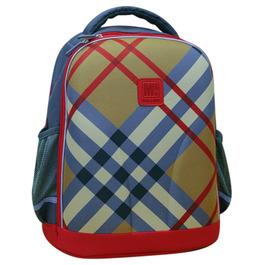 Школьный рюкзак Mike&Mar Бежевая клетка/красный кант 1010-4
