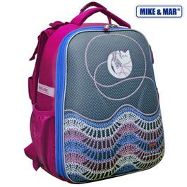 Школьный рюкзак Mike&Mar Котик с клубком серый / малиновый кант 1008-89