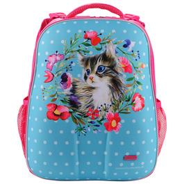 Школьный рюкзак Mike&Mar Котик голубой / малиновый кант 1008-145