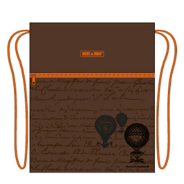 Мешок для сменной обуви Mike&Mar Глобус коричневый / оранж кант MB158
