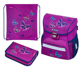 Школьный ранец Herlitz LOOP PLUS Glitter Butterfly с наполнением 50020485-set