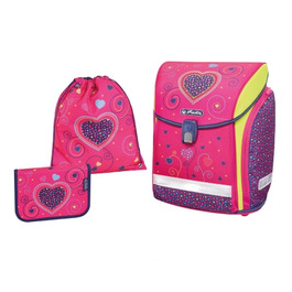 Школьный ранец Herlitz MIDI NEW PLUS Pink Hearts с наполнением 50013715-set