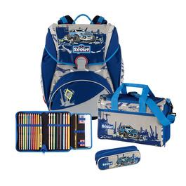 Школьный ранец Scout Alpha Синий джип с наполнением 4 предмета 74400655300