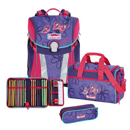 Школьный ранец Scout Sunny Бабочки с наполнением 4 предмета 73410606400