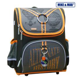 Школьный ранец Mike&Mar Путешествие коричневый / оранж кант 1441-mm-125