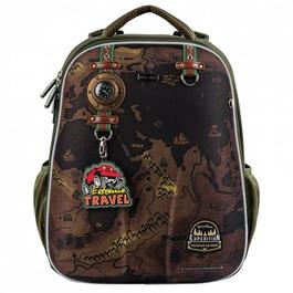 Школьный рюкзак Mike&Mar Travel (Car Badg) хаки 1008-173A