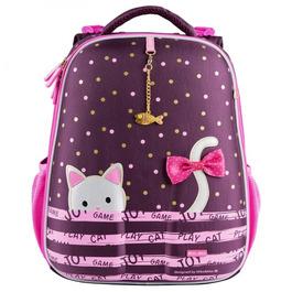 Школьный рюкзак Mike&Mar Котик бордо / розовый кант 1008-175