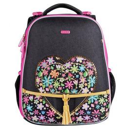 Школьный рюкзак Mike&Mar Сердечко темно-серый / малиновый 1008-179