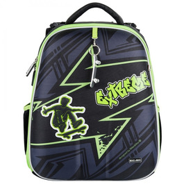Школьный рюкзак Mike&Mar Экстрим серый / зеленый кант 1008-197