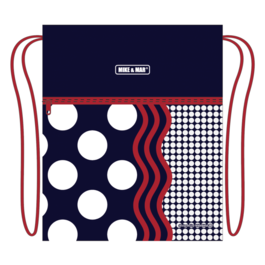Мешок для сменной обуви Mike&Mar Стиль темно-синий / красный кант / белый горох MB200