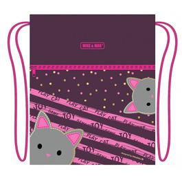 Мешок для сменной обуви Mike&Mar Котик бордо / розовый кант MB202