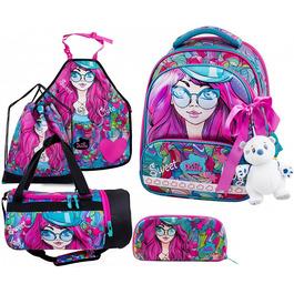 Школьный ранец DeLune Full-set 9-122 + мешок + жесткий пенал + спортивная сумка + фартук для труда + мишка + ленточка