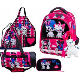 Школьный ранец DeLune Full-set 9-124 + мешок + жесткий пенал + спортивная сумка + фартук для труда + мишка + ленточка