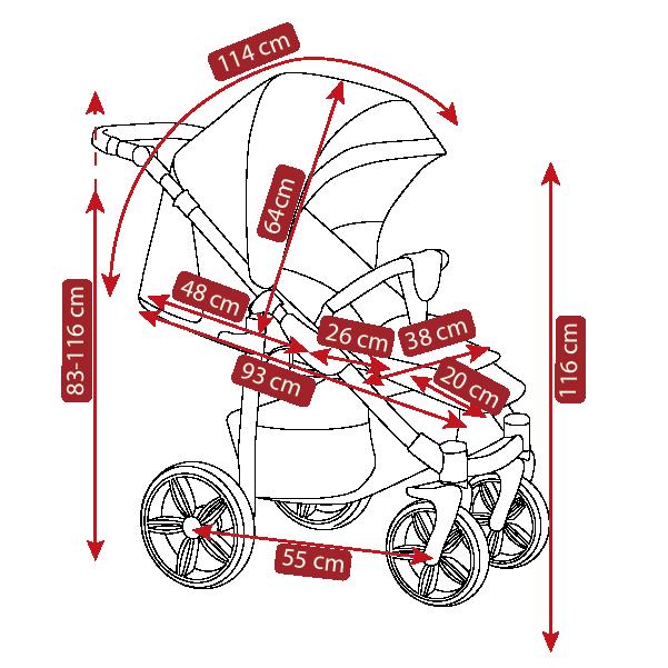 Размеры прогулочной коляски Camarelo Elix