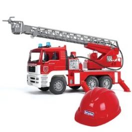 Пожарная машина Bruder MAN с лестницей + каска красная