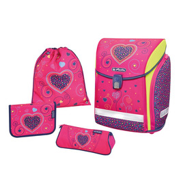 Школьный ранец Herlitz MIDI NEW PLUS Pink Hearts с наполнением