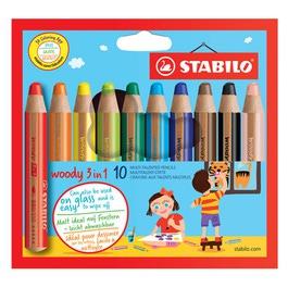 Карандаши STABILO цветные Woody 3 в 1, 10 цветов