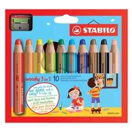 Карандаши STABILO цветные Woody 3 в 1, 10 цветов+точилка